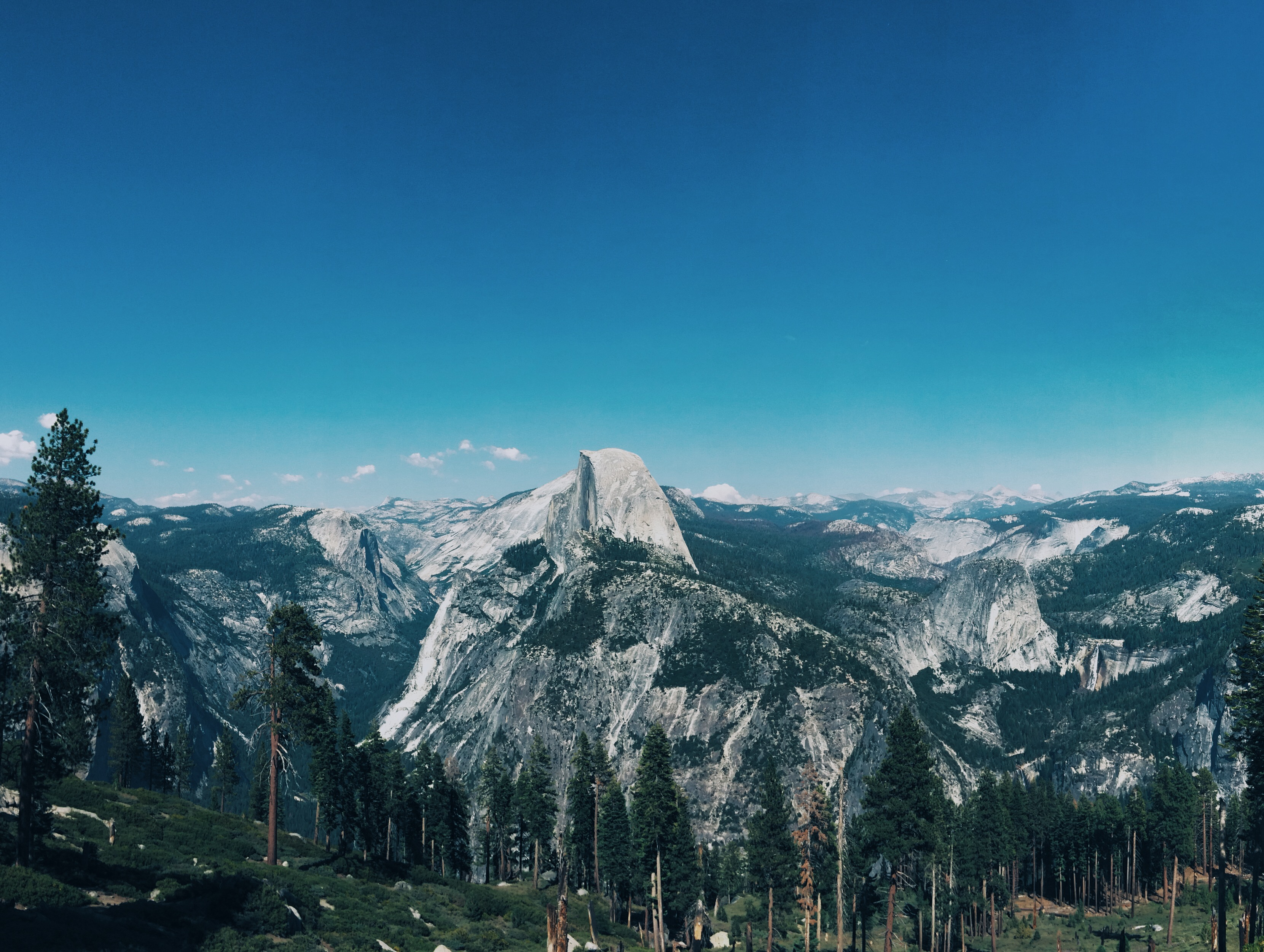 half dome blue sky trees beautiful