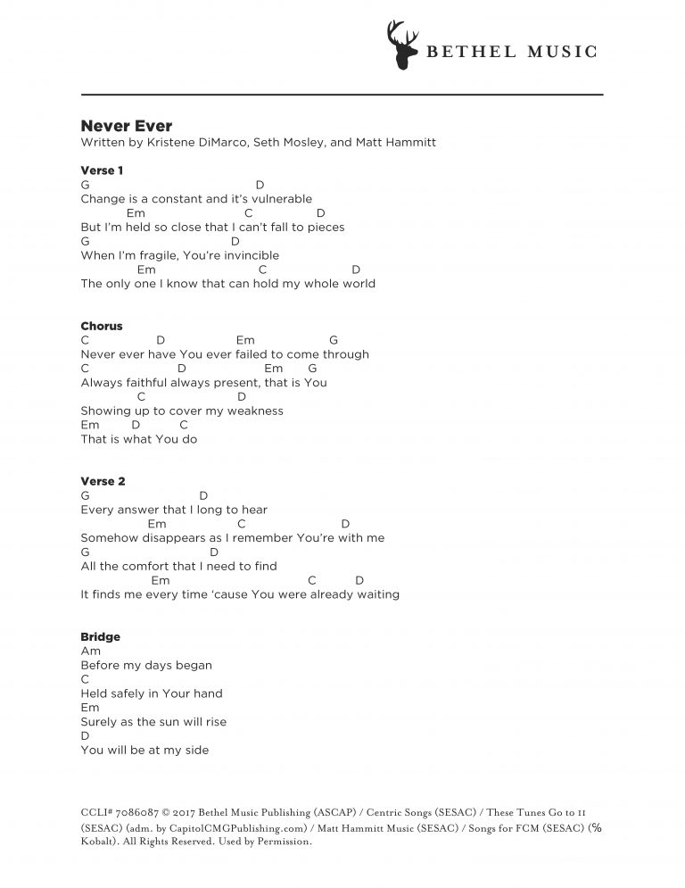 Never-Ever-Chord-Chart - Bethel Music