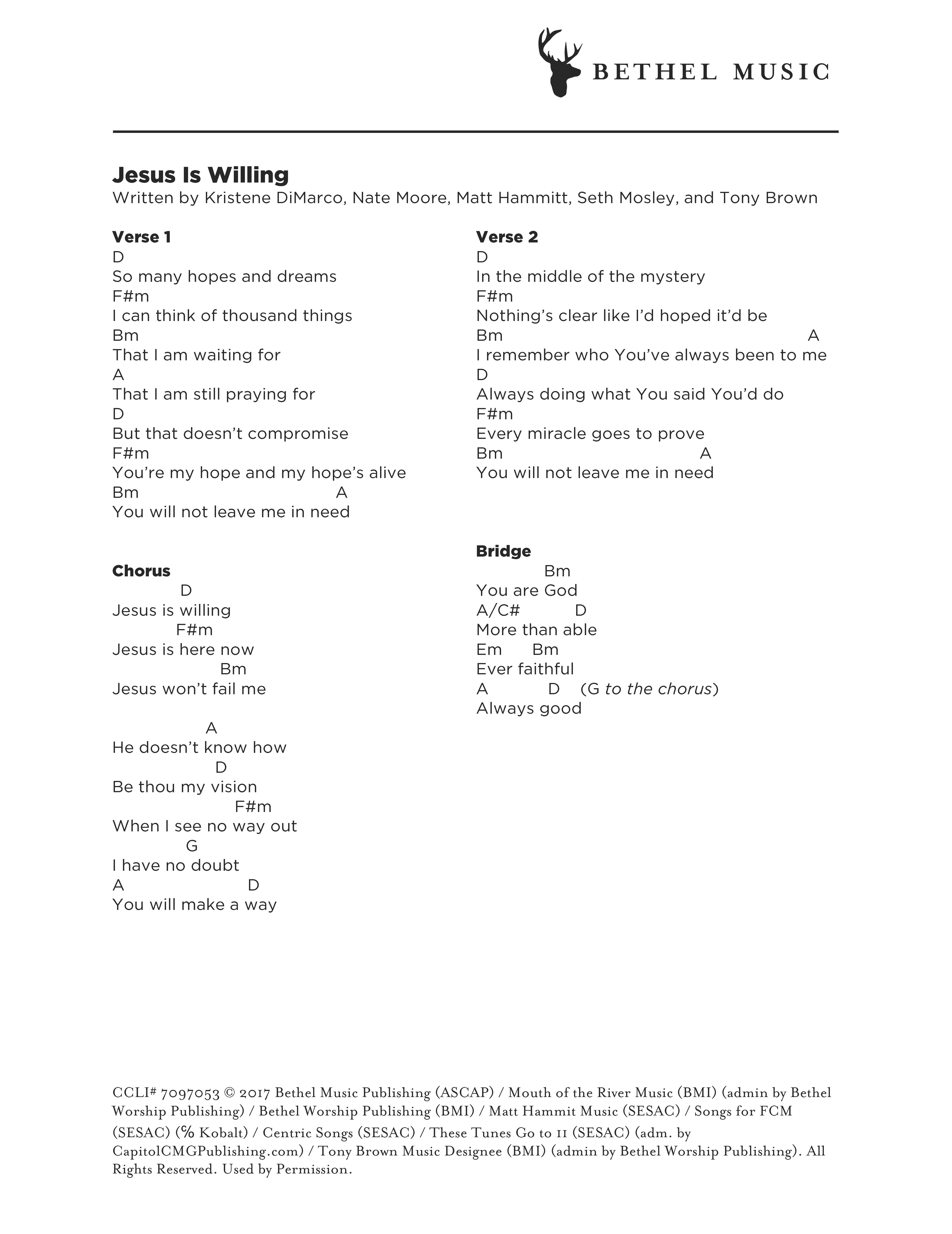 Jesus Is Willing Chord Chart Bethel Music