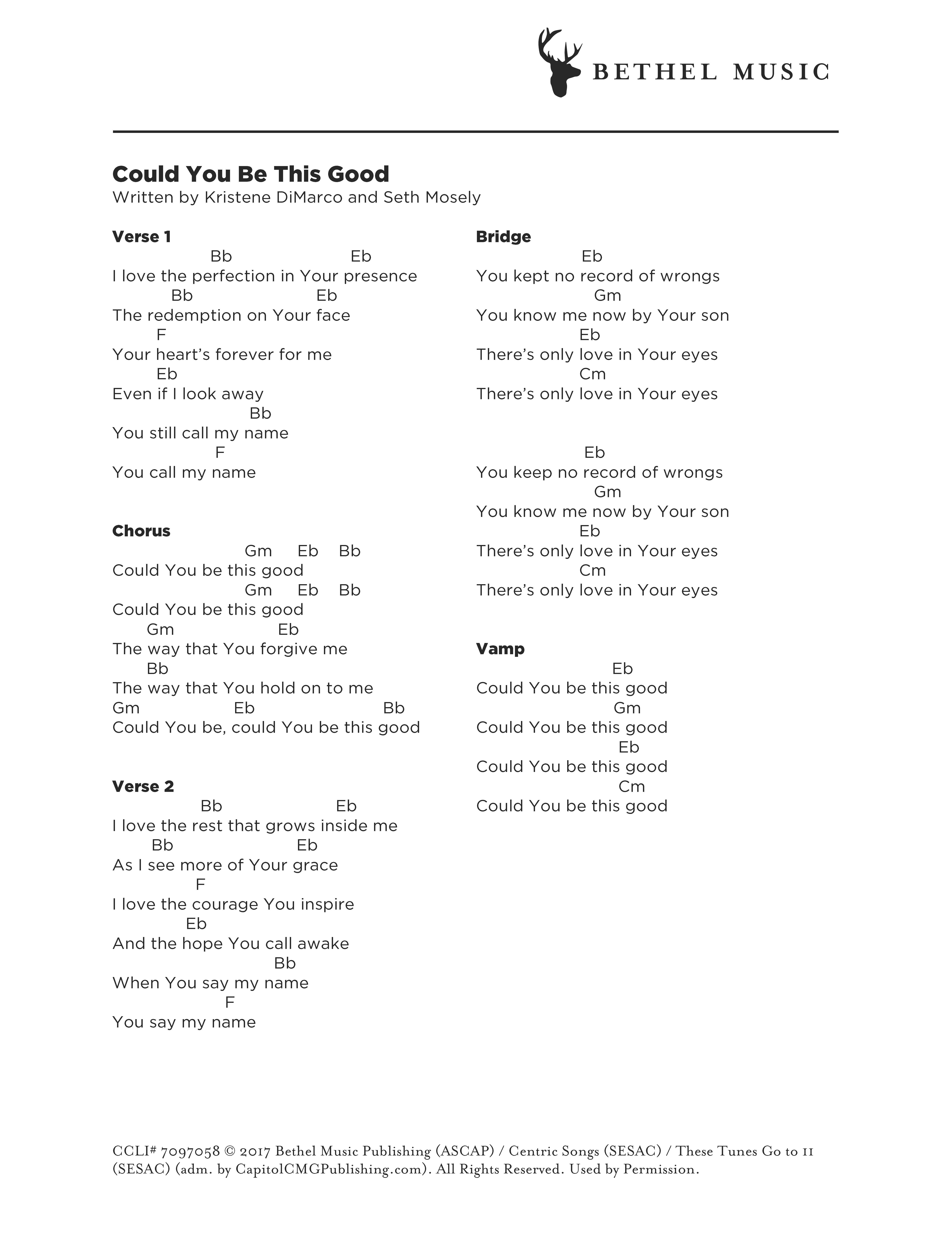 you are good bethel chords pdf