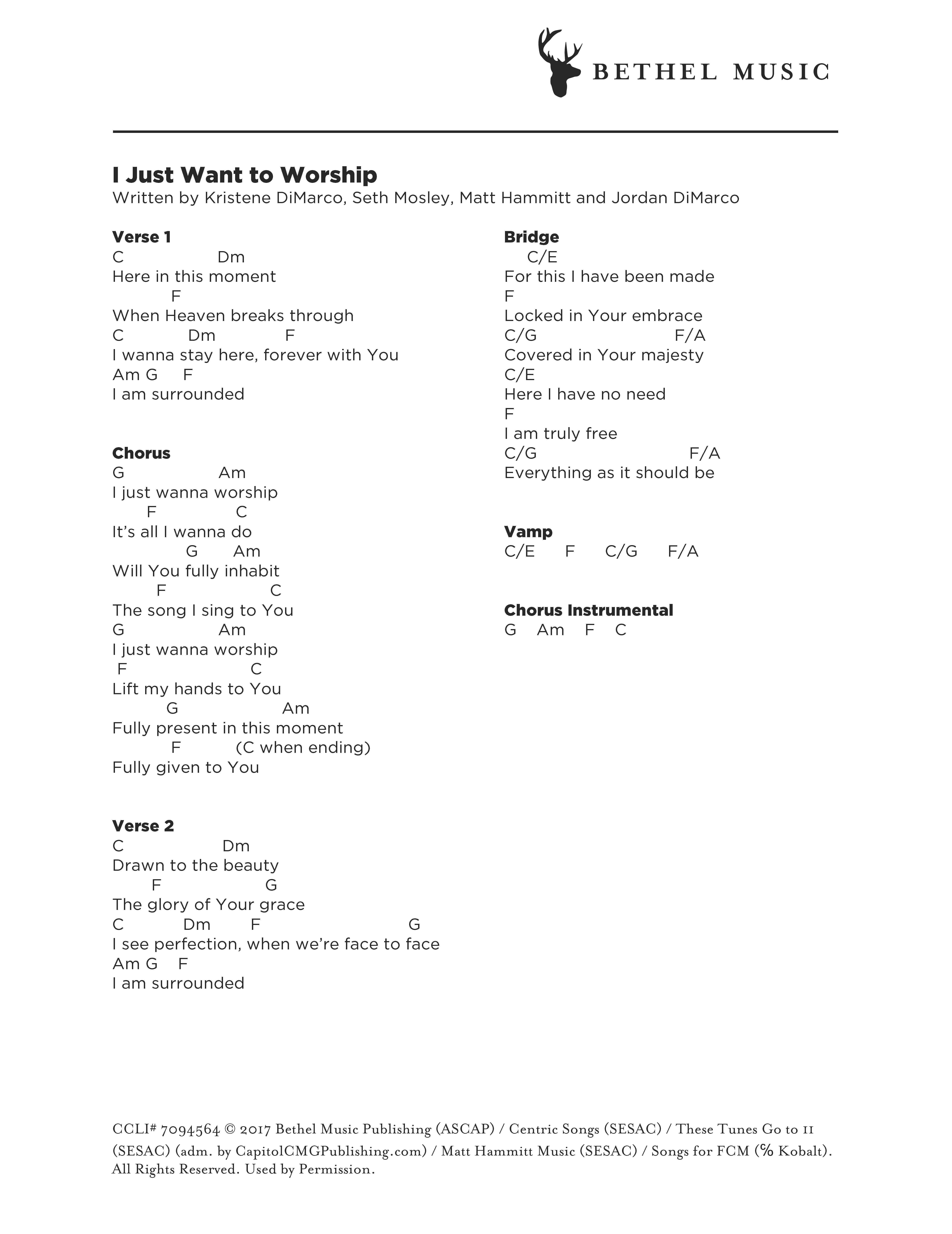 I Just Want To Worship Chord Chart Bethel Music